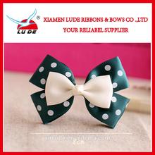 Fashion pre-made satin ribbon hair bow with clip