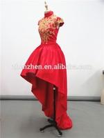 Actual Pictures CJ-R0117 High Collar Golden Lace Appliqued Short Front Long Train Evening Dress