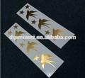Venda quente novo estilo de segurança tinta de impressão pássaro dourado metálico tatuagem