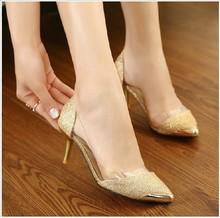 New metal head pointed PU cut out sexy cusp most popular waterproof platform thin heels women's high heels sandal shoes(M40042C)