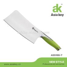 Heavy Duty 7 inch Professional Chopper Butcher Knife, Green handle