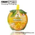 Forma de naranja bolsa con el canalón, jugo de bolsa packaing, doypack jugo