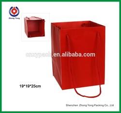 Custom Red Paper Bags Paper Packaging Bags Paper Wine Bags With Handle