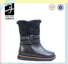 BC32-7-C37 Rabbit Fur Winter Warm Waterproof Flat Children Boots For Girls