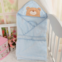 Blue bear embroidery soft blanket for baby