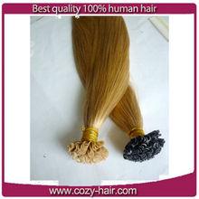100% unprocess virgin u tip hair extension pre bonded u tip hair