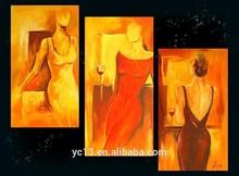 Modern flower oil painting group,3pcs panel group handmade oil painting