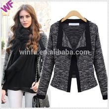 Custom Made Women Wide Faux Fur Collar Black Wool Jacket