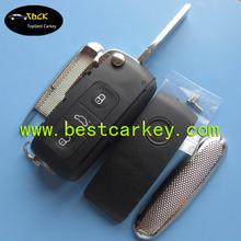 Top best 3 button flip key blank for vw Phaeton Touareg Sagitar Golf Touran Tiguan key vw key case