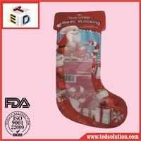 Funny kids christmas socks woven bag shaped pouch Custodia sagomata