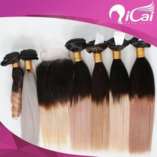 Ombre hair and grey hair weft and lace closure