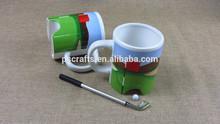 new design ceramic golf mug,ceramic golf mug with pen and ball