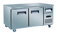 Kitchen equipment CE fan cooling stainless steel counter display fridge (1.5 meter, 1.8 meter, 2.4 meter)