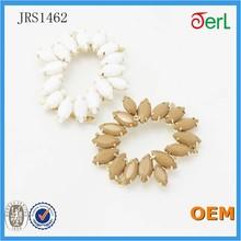 White acrylic with crystal rhinestone round circle shoe ornament