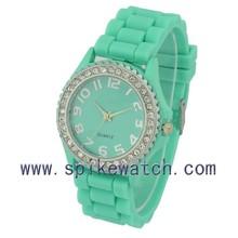 New year design colors rhinestone silicone watches women geneva silicone