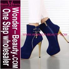 NEW design deep blue women high heel stiletto shoes with zipper