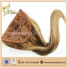 Elegant very popular 6a grade unprocessed virgin brazilian human hair drawstring ponytail