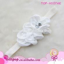 Lovely cream with diamond wholesale elastic babys nylon headbands