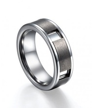 Unique Design Men Tungsten Wedding ring With Brushed Finish