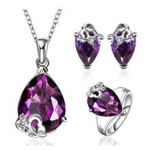 New Design jewelry set grace romantic purple gem fashion jewelry set wedding jewelry set