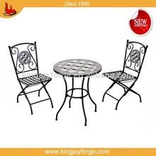 Patio sense//ceramic top/folding metal chair 3pcs bistro set