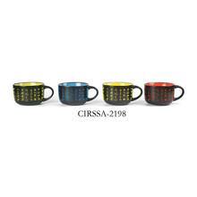 stoneware handpainted jumbo mug inside color and outside handpainted