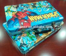 hot design spiderman business metal briefcase/ computer tin box