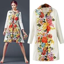 HFR-T1086 European Brand hot sale flower printing lady overcoat long coat for women