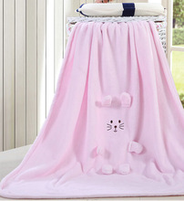 Pink embroidery 3D bear baby blanket price cheap