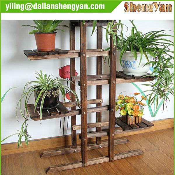 Pallet planter vertical flower pallet planter vertical garden pallet - Outdoor Garden Wood Flower Rack Flower Shelf Plant Stand