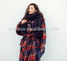 2015 dongguan long style clothing export big size plain shirt woolen coat