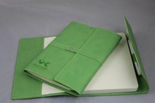 High Quality Faux Leather Special Folded Notebook, Italy Pu Green Notebook With Pen Holder
