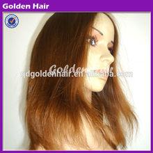 Golden Hair 100% Lace Human Hair Bald Head Wig Jewish Wig