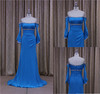 Flat pleat cocktail dresses blue white belt chiffon bridesmaid dress
