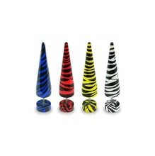 Wholesale mixed color stripe uv acrylic fake ear plugs ear stretchers body piercing jewelry new style