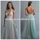 Deep v neck puffy prom dresses, halter neck evening dress patterns