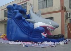 2014 new design shark slide,commercial giant inflatable slide, inflatable jumping slide for sale