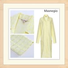 Yellow lapel collar long sleeve shop women jackets 2015