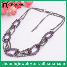 2015 Fashion Jewelry Multi Layer Chain Necklace Snake Chain & Purple Beaded Entangled Together
