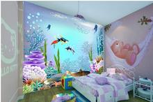 2014 New Children room big blue ocean 3 d wallpaper murals Male girl a bedroom TV setting wall PVC wallpaper wallpaper 3d