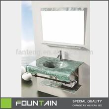 Stainless Steel Support One Piece Glass Waterproof Bathroom Vanity Furniture