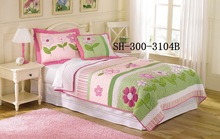 Green Pink Fabric Cotton Printed Bed Sheet