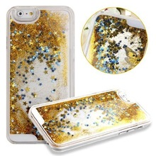 Flowing Liquid Bling Glitter Stars Case for iPhone 6 ,for iphone 6 plastic PC case