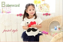 2015 hot sale new girls short sleeve pearl skirt suit Sweet and lovely to baby girl lace dress