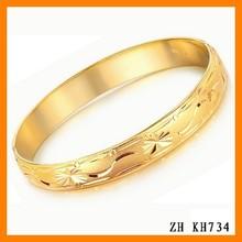 Korea Vintage Gold Plated Engraved Wedding Bracelet For Women