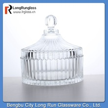 LongRun 2015 popular 264ml elegant Clear Glass Candy box glass bowl Container with lid manufacure