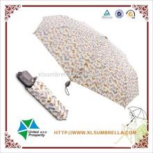 purple leaf 3 fold automatic lady's rain Regenschirm