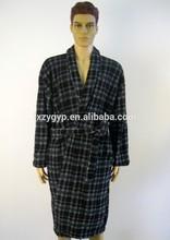 New design coral fleece black and green plaid print bathrobe for men