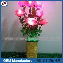 cheap artificial red rose flower / led flower pot lighting and decorative flower vase for sale