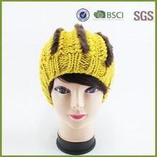 Crochet Ladies Winter Hand Knit Rabbit Fur Beanie Hat